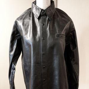Real Leather Long Sleeve Shirt Men's Medium